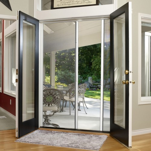 Custom double door retractable screen retractable door for Double door screen door
