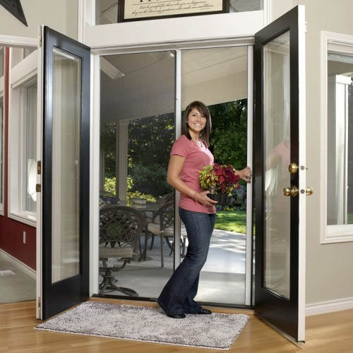 Tall double door retractable screen kit retractable door for Retractable double screen door