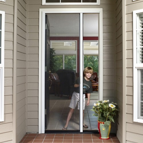 Tall custom retractable single door screen retractable for Single swing patio door